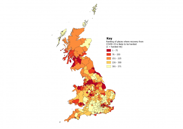 Ranking of places in the UK where economic recovery from COVID-19 is likely to be hardest