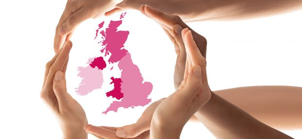 """Human hands circle a map of the UK, showing that """"only together through collaboration can we achieve wider reform for the common good"""""""