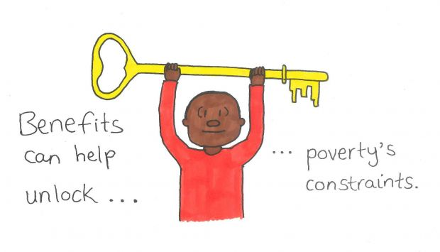 Benefits shown as a key that can unlock poverty's constraints