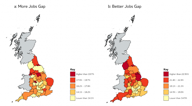 Two maps of the UK showing the proportion of the workforce seeking work or more hours, and the proportion who lack a good quality job, either through low pay or insecurity