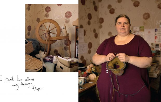 Joy's Picture Britain photo, with her words 'I can't live without hope', and 'knitting' crossed out