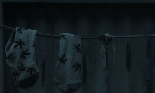 A pair of children's socks hanging on the washing line