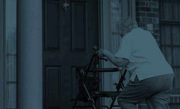 elderly walking with zimmerframe