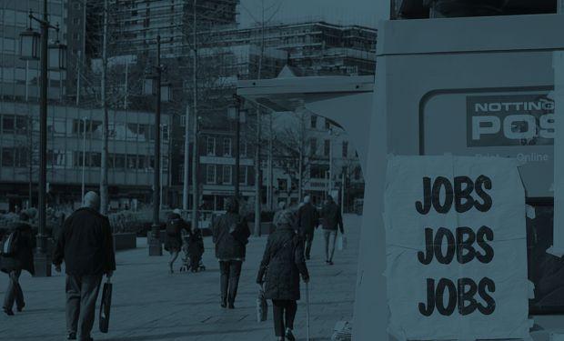 Job advert on busy street