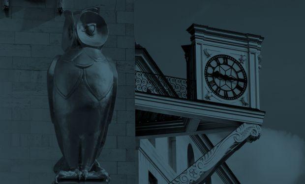 Clock and golden sculpture