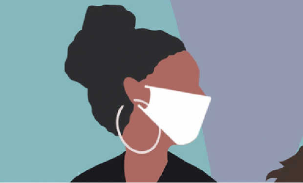 People wearing face masks illustration