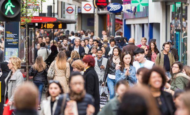 People walking on a busy London pedestrianised street