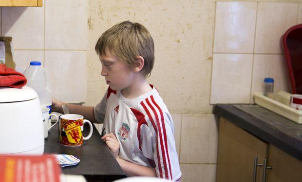 Child making tea
