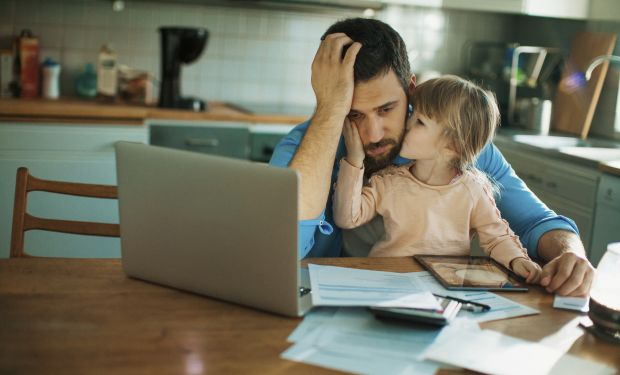 Stressed man and daughter