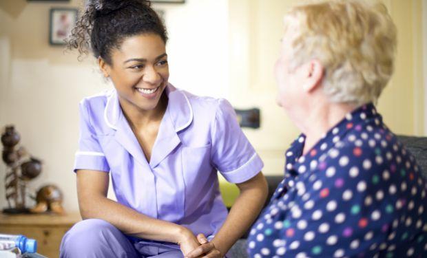 Nurse talking a patient