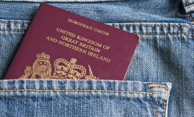 Passport in jeans