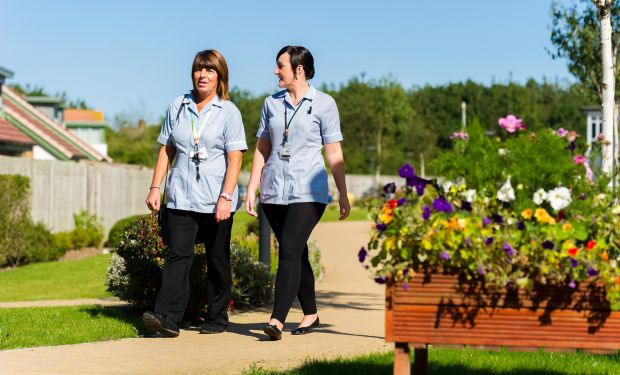 care staff walking