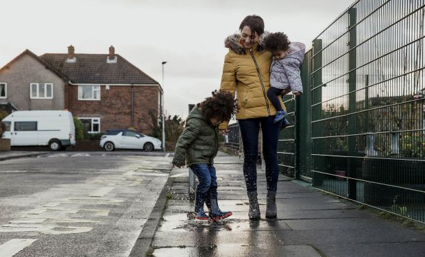 Woman with children doing the school-run