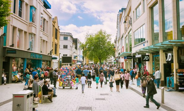 People shopping on high street