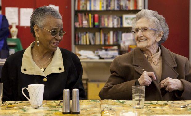 Elderly ladies laughing together