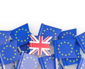 UK flag with EU flags