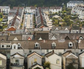 Arial view of Welsh houses