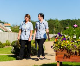 care staff walking
