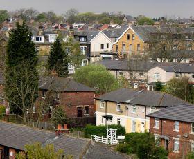 Skyline of street of houses