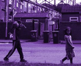 Children walking down a street