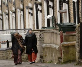 Women in a terraced street