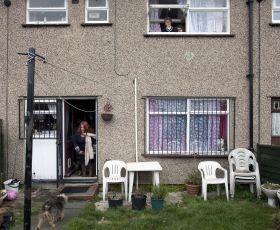 Mum leaving her house as children say bye