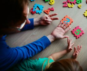 Children playing a puzzle
