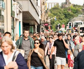 Shoppers walking on highstreet