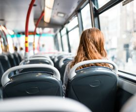 Young woman on bus