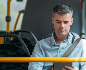 Man travelling on bus