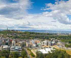 Edinburgh skyline, including the Scottish Parliament building