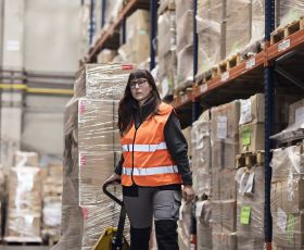 Woman working in distribution centre