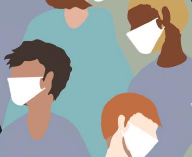 People wearing facemasks illustration