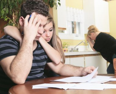 couple worrying over bills