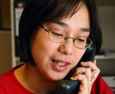Woman on the phone in an office