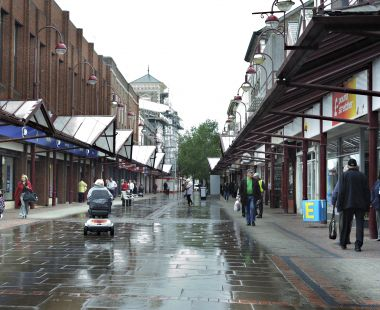 Shopping street in Llanelli, Wales