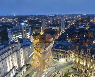 Leeds city at night