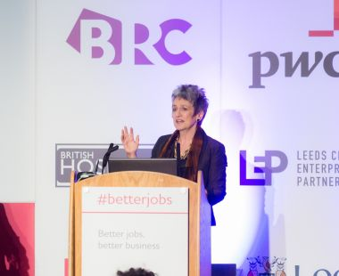Julia Unwin speaking at the Better jobs, better business event