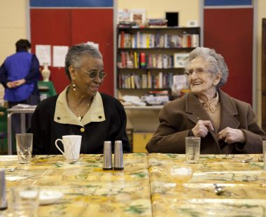 Elderly ladies laughing together